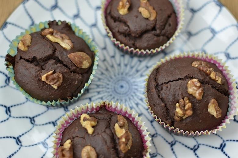 Glutenvrije chocolade muffins zonder melk, ei of boter