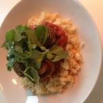 CItroen bloemkool rijst met tomaten, champignons en rucola sla