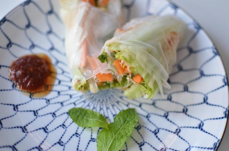 rijstpapier met rauwe groente