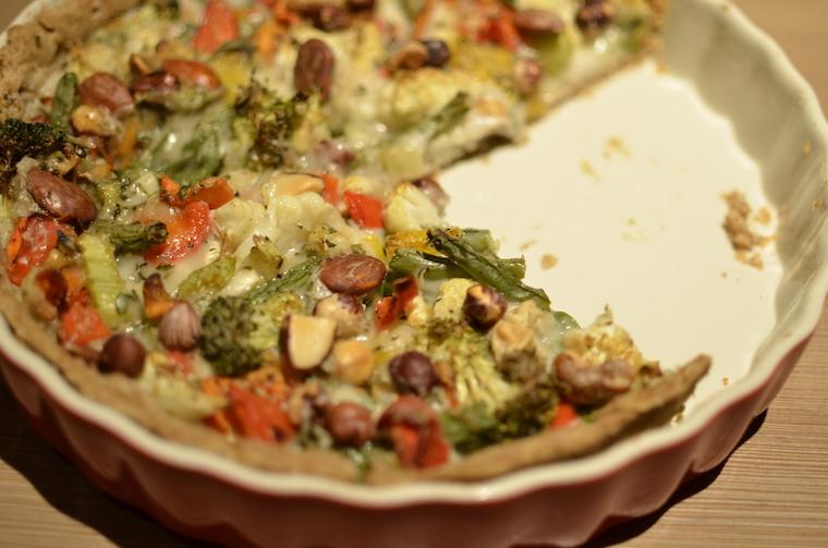 Vegan groente quiche maar met kikkererwtenmeel