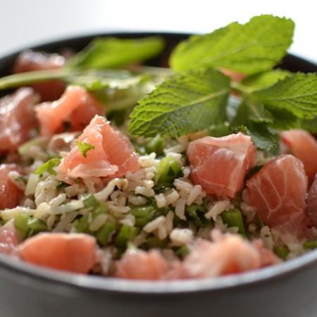 Thaise rijstsalade met grapefruit en snijbonen