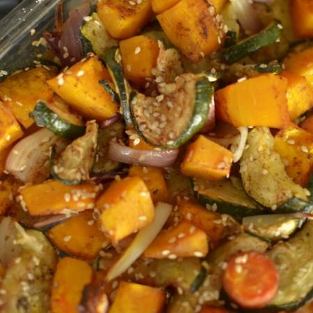 Zoete vegetarische ovenschotel met pompoen