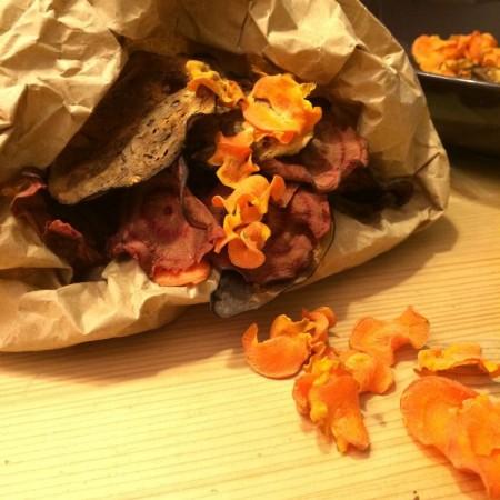 Gezonde snack: groente chips uit de oven