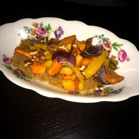 Amaranth met zoete aardappel uit de oven