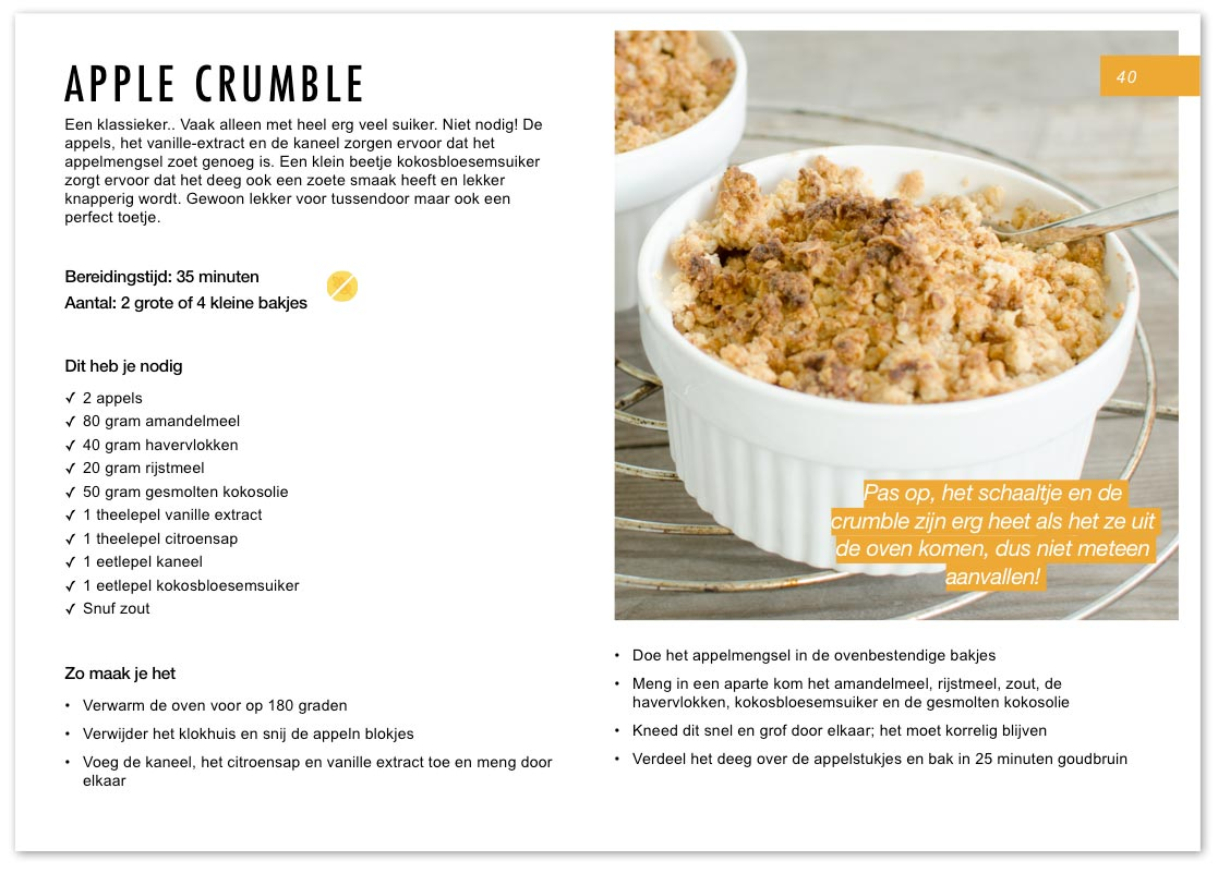 Suikervrije vegan apple crumble