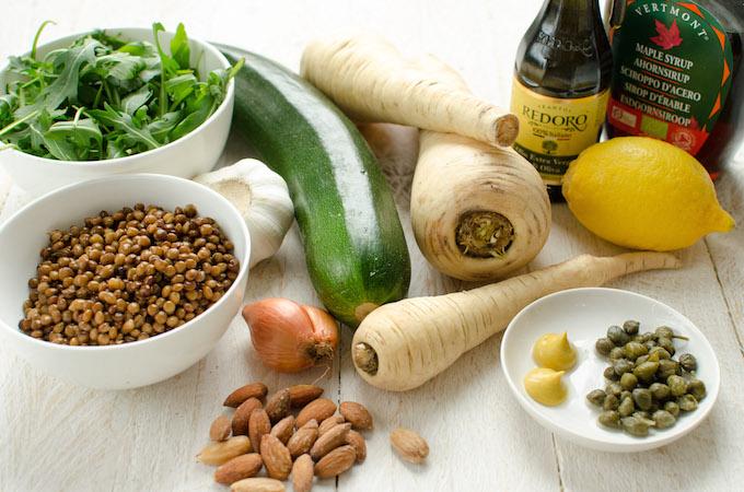 De ingrediënten voor het groente 'tartaartje'